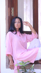 Women's Tunic Long Sleeve Pink Jamdani Love Label : Be You - Exclusive Jamdani Long Sleeve Kurta - Premium Collection Women, One Size