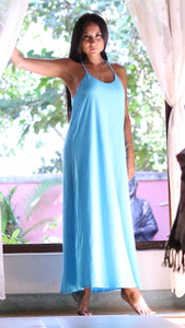 Women's Dress Long Pure Cotton Love Label: Softness - Exclusive Cotton Dress Pink and Turquoise- Premium Collection Women, One Size