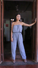 Load image into Gallery viewer, Women Black and Blue Jump Suit Linen Love Label: Fun - Exclusive Linen Jump Suit - Premium Collection Women, One Size & Custom Size (approx. Rs. 7600)