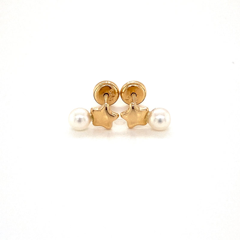 14kt Yellow Gold Stars with Pearl