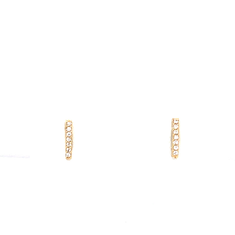 14Kt Solid Gold Bar with Zircon Earrings