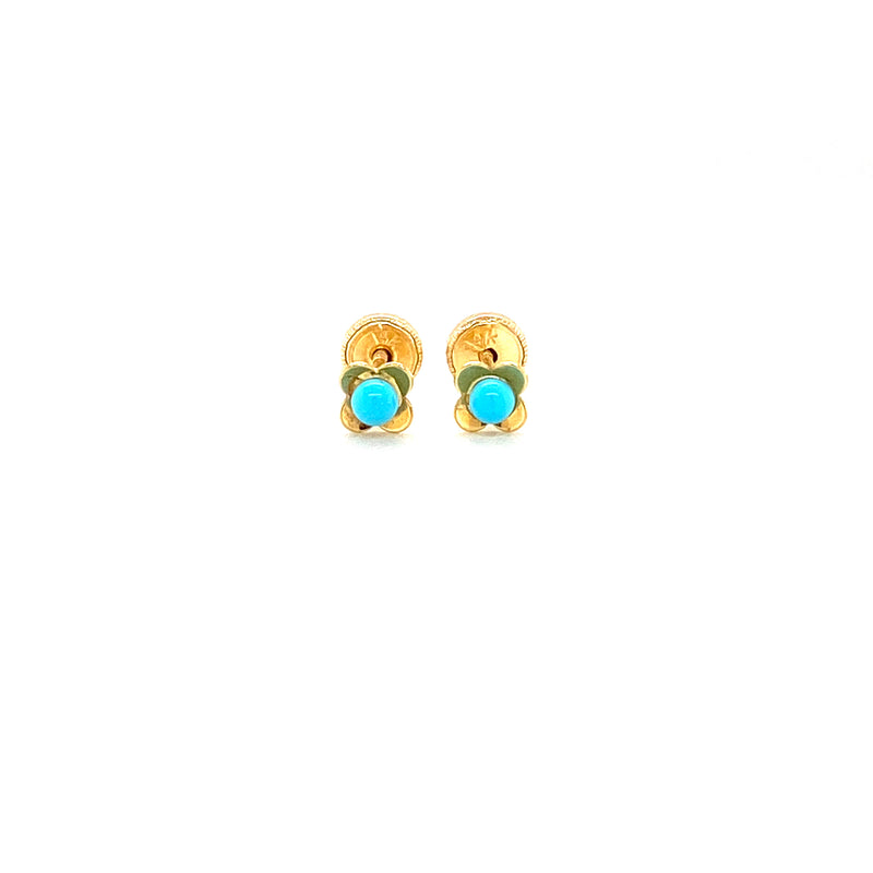 14Kt Solid Gold Flower with Mini Turquoise Earrings