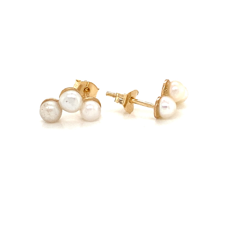 14kt Yellow Gold with 3 Pearls Earrings