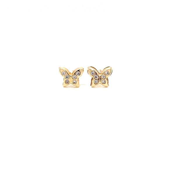 14kt Yellow Gold with zirconia Baby Butterfly Earrings