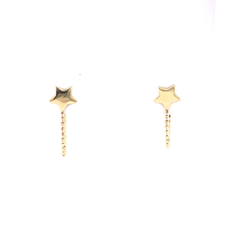 14kt Yellow Gold Star with Chain Earrings