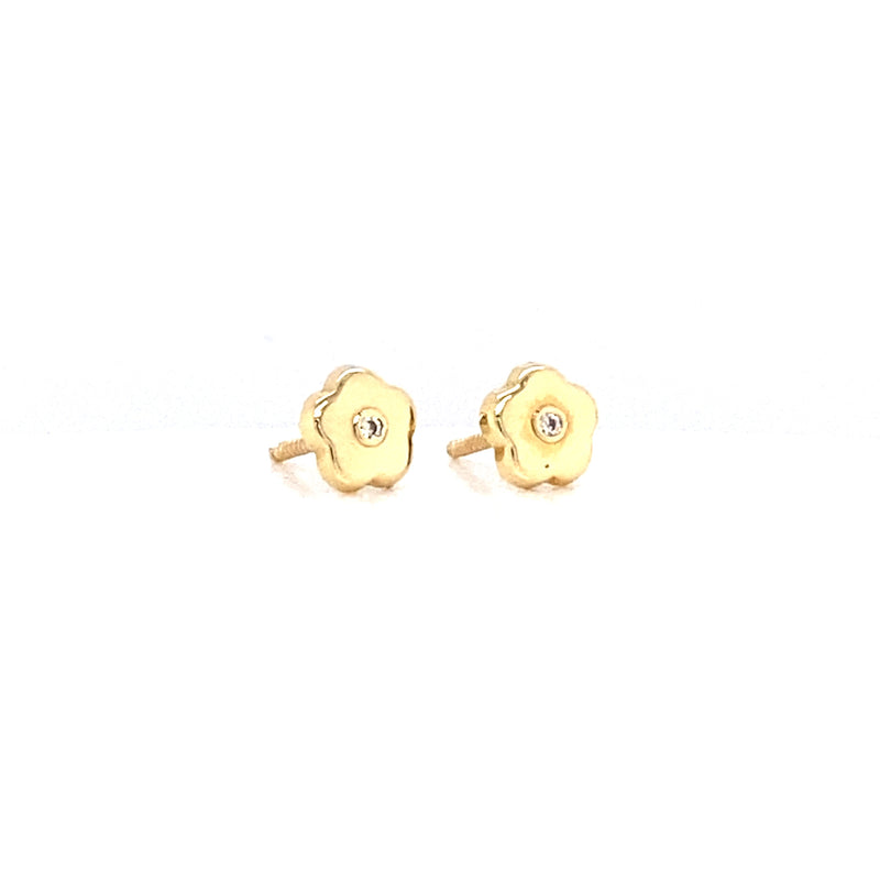 14kt Yellow Gold Flower earring with zirconia