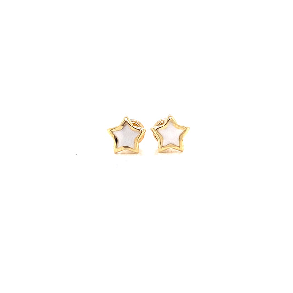 14kt Yellow gold with Mother Pearl Stars Earrings
