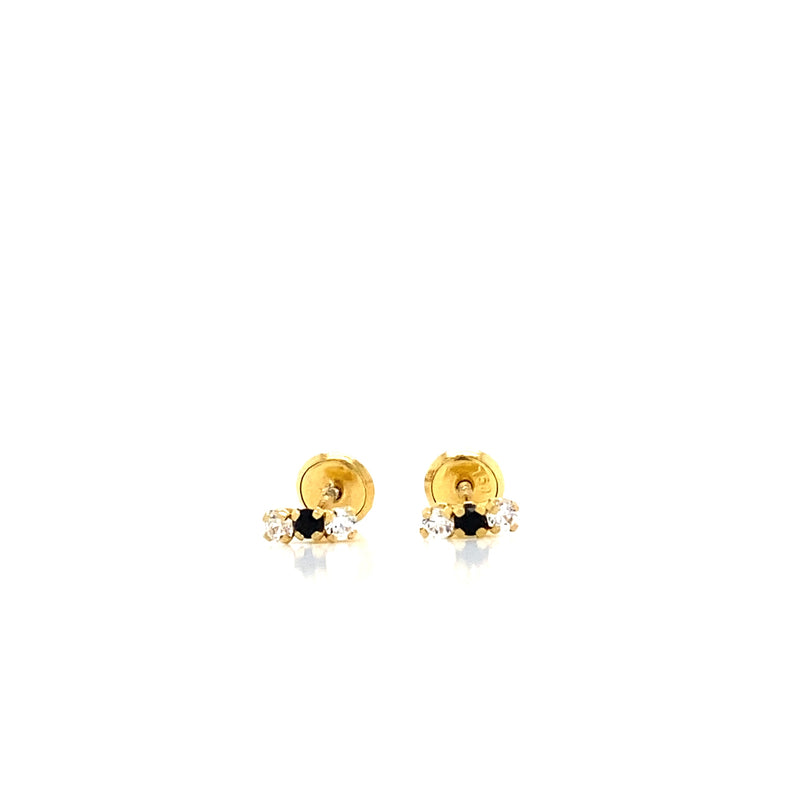 18kt Solid Yellow Gold, Zaphire and Diamond Earrings