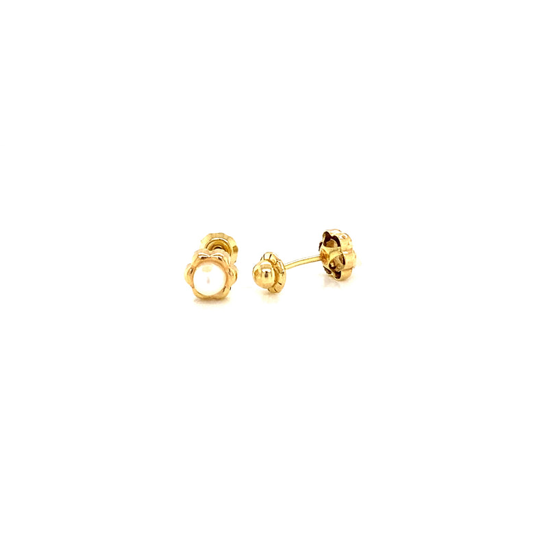 18K Yellow Gold Pearl in Flower