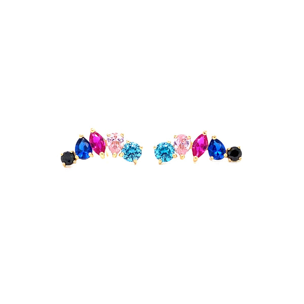 18kt Multicolor Post Earrings