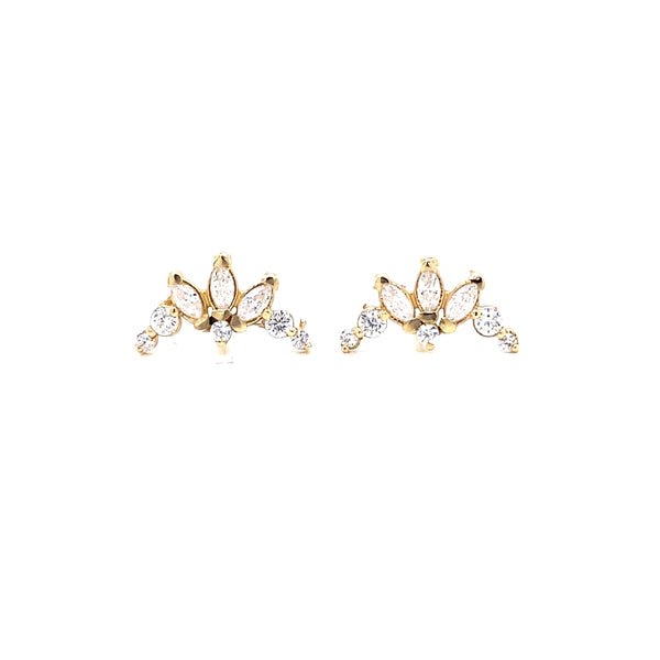 14Kt Yellow Gold Multi Marquis Earrings