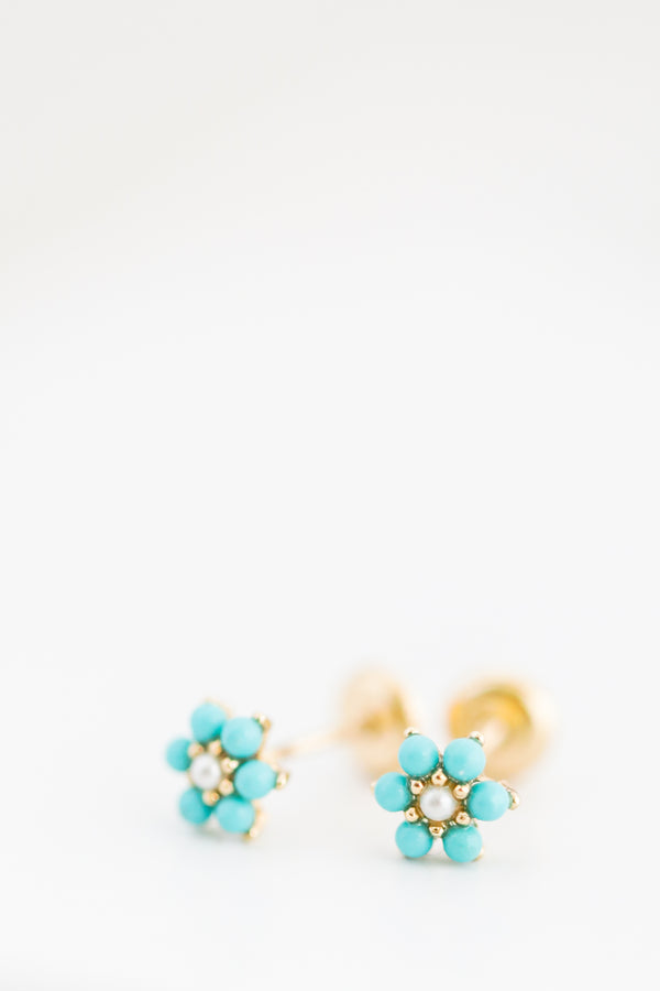 18k Yellow Gold Little Turquoise Flower