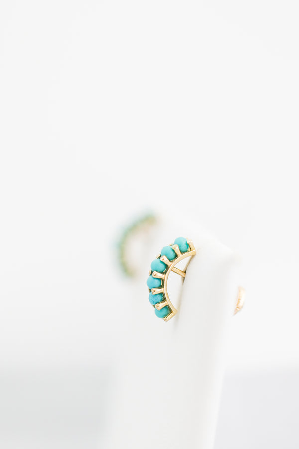 14kt Yellow Gold Half Hoop of Turquoise - Screw Back