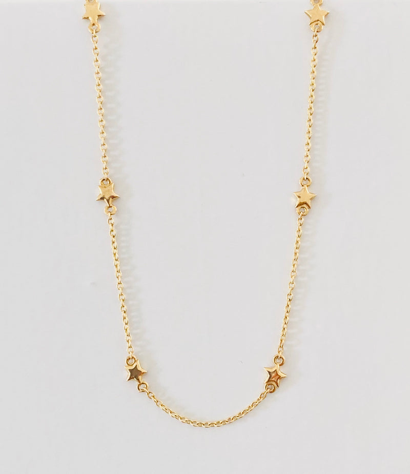 "14Kt Yellow Gold Stars Chain 14"" and 16"""