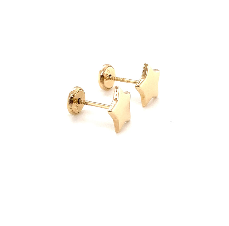 14Kt Yellow Gold Plain Stars Earrings