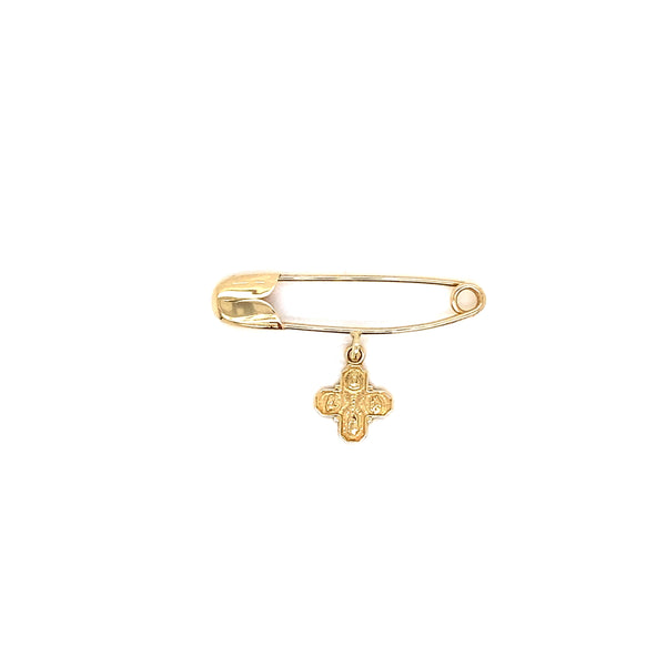 14Kt Yellow Gold Pin Four Way Cross