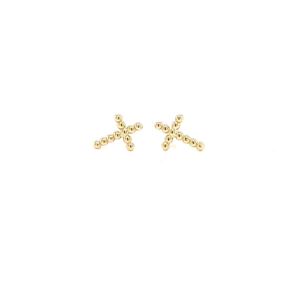 14Kt Yellow Gold Earrings Cross Beads