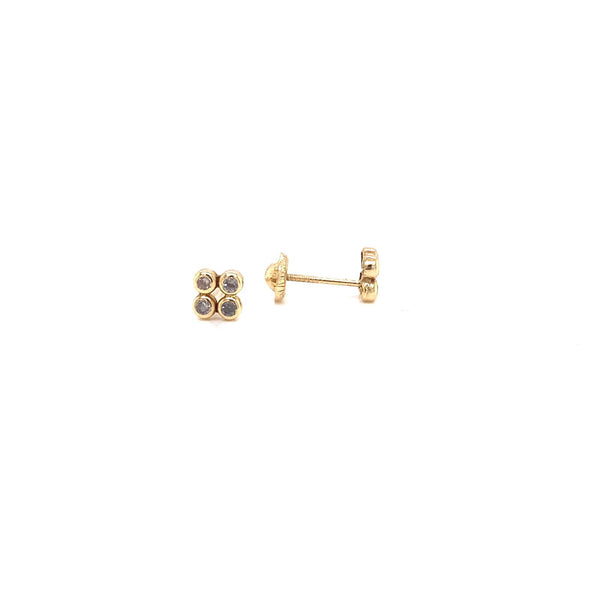 14Kt Yellow Gold Earrings 4 Bezel Stud