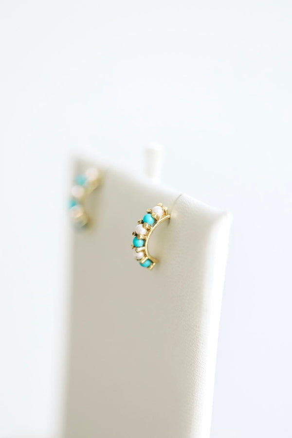 14kt Solid Gold Half Hoop of Pearls and Turquoises