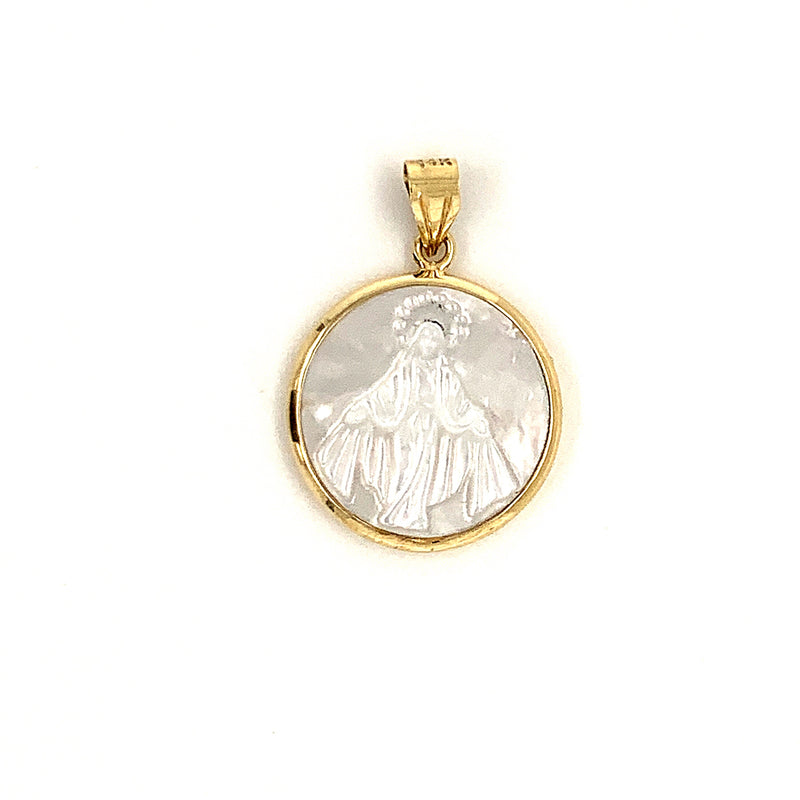 14kt Solid Gold and Mother Pearl Our Lady of The Miraculous