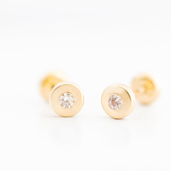14kt Solid Gold Dot with Zircon Earrings