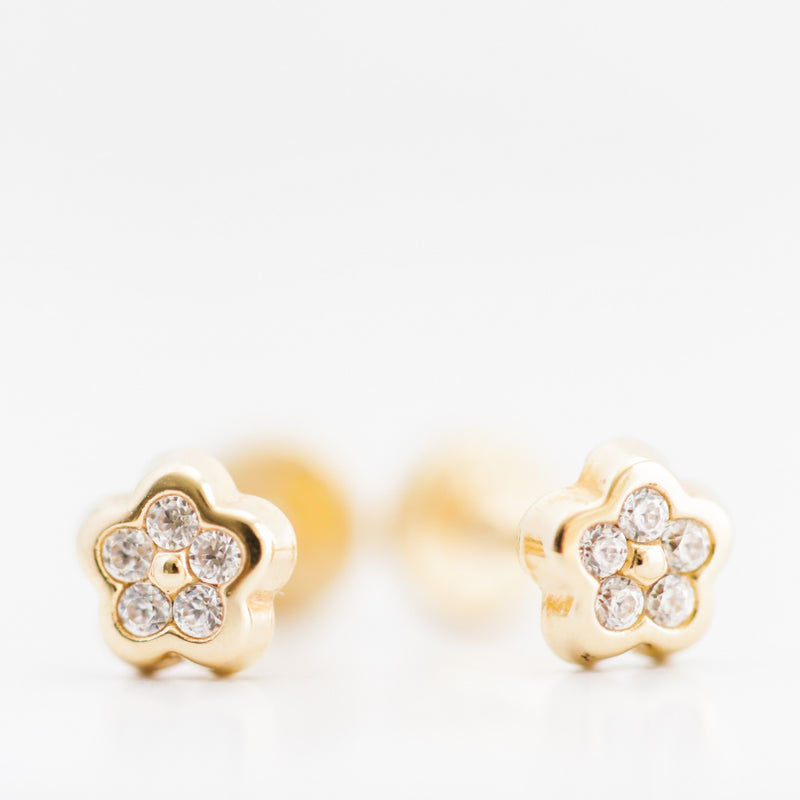 14kt Solid Gold Flower with Zircon Earrings