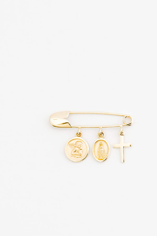 14kt Yellow Gold Pin with three Charms