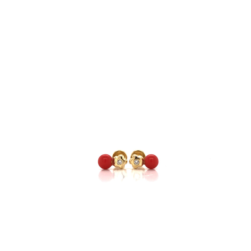 18kt Solid Gold Coral and Diamond