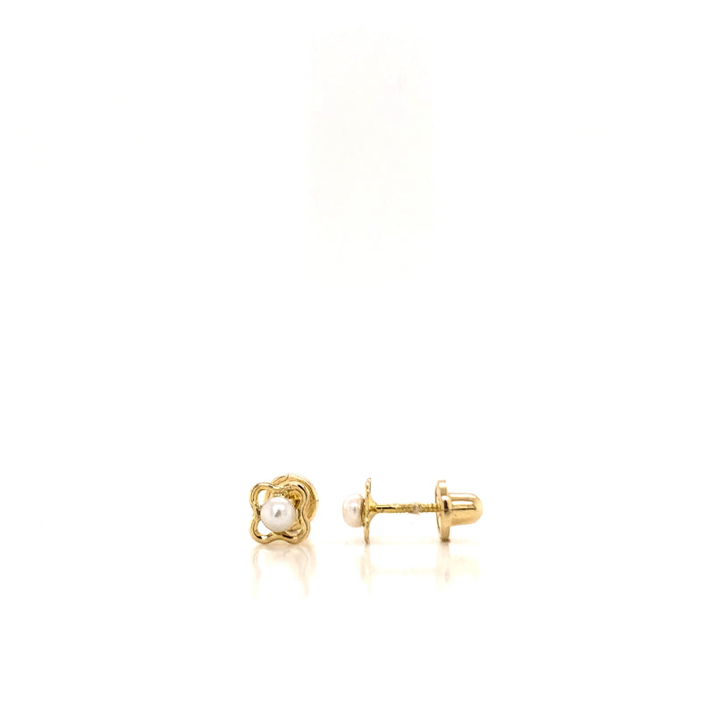 18kt Solid Gold clover with pearl earring