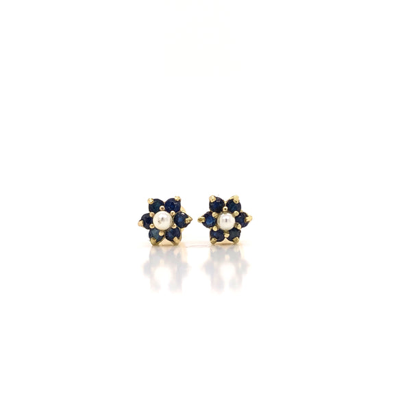 18kt Yellow Gold & Saphires Flower Earrings - Screw back (6 petals)