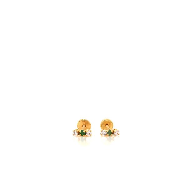 18kt Solid Gold, Emerald and Diamond Earrings