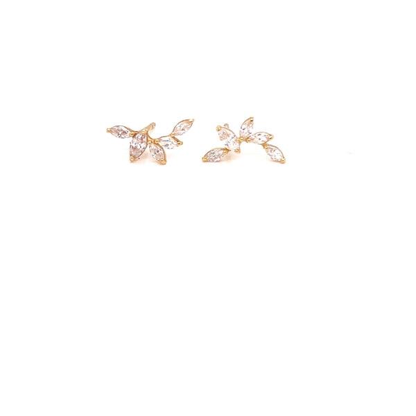 18Kt Yellow Gold Earrings with zircon Channel