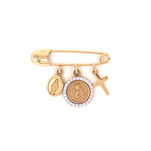 14kt Solid Gold pin with Our Lady of the Miraculous, Guardian Angel and a Cross