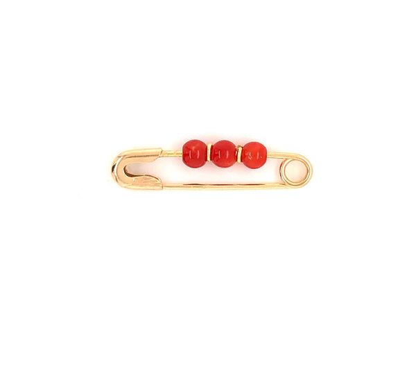 18kt Yellow Gold Pin with Corals