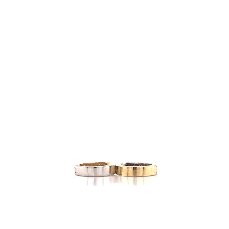 14kt Solid Gold Two Tones Huggies