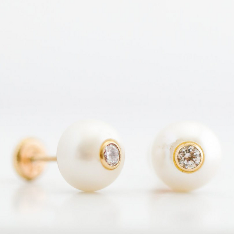 14kt Yellow Gold Pearls with Zircon