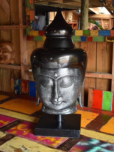 Black & Silver Buddha Head Large