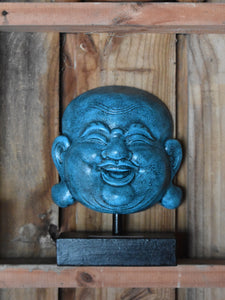 Happy Buddha on Stand  Blue