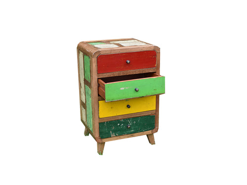Four Drawer Multicoloured Sidetable.