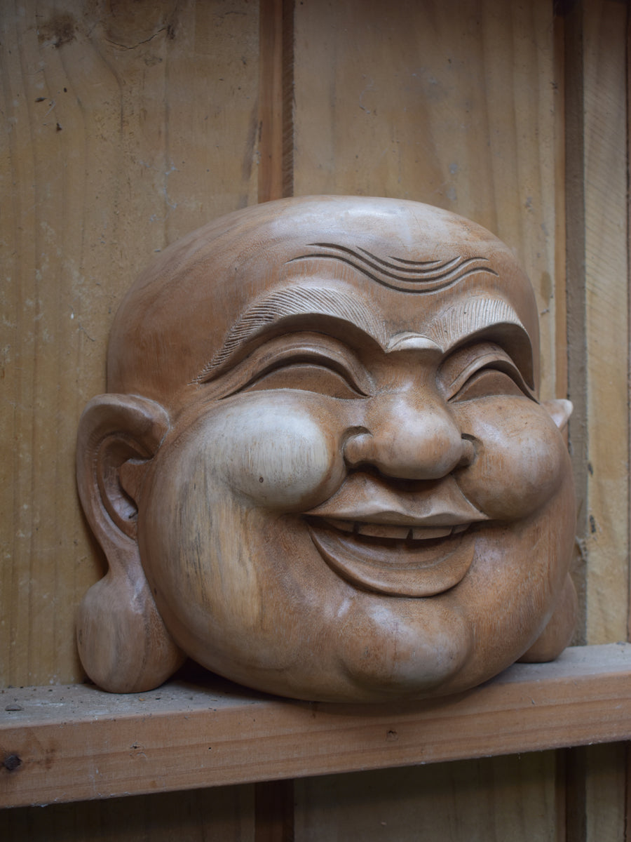 Happy Wooden Buddha Heads