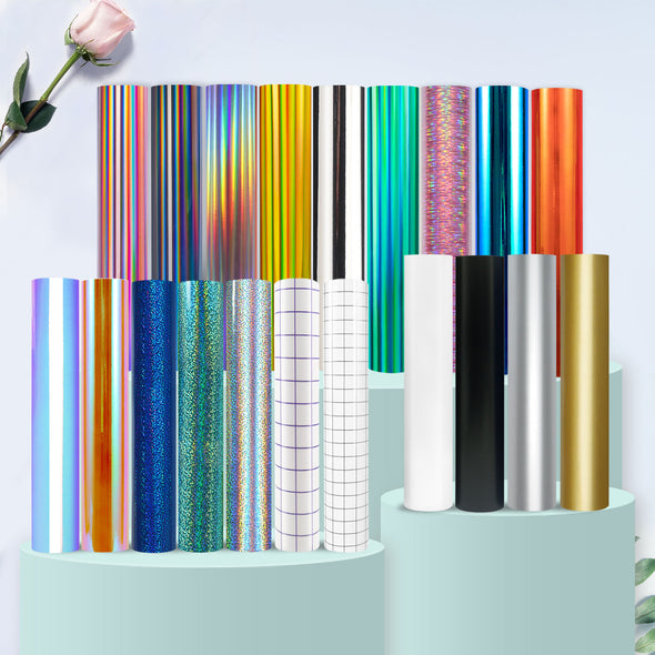 TECKWRAP Holographic Chrome Craft Vinyl 20 Rolls Bundle