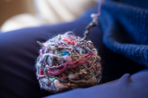 A ball of Kate Russell Henry hanspun yarn