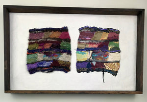 This piece is the beginning of my work combining fiber and my paper. The left side is a crochet tapestry and the right is an assembly of papers, a mirror of its mate. The two pieces are mounted on painted wall board, wood framed. Content: wool, mohair, silk. Paper collection, some 1930 antique wall paper.