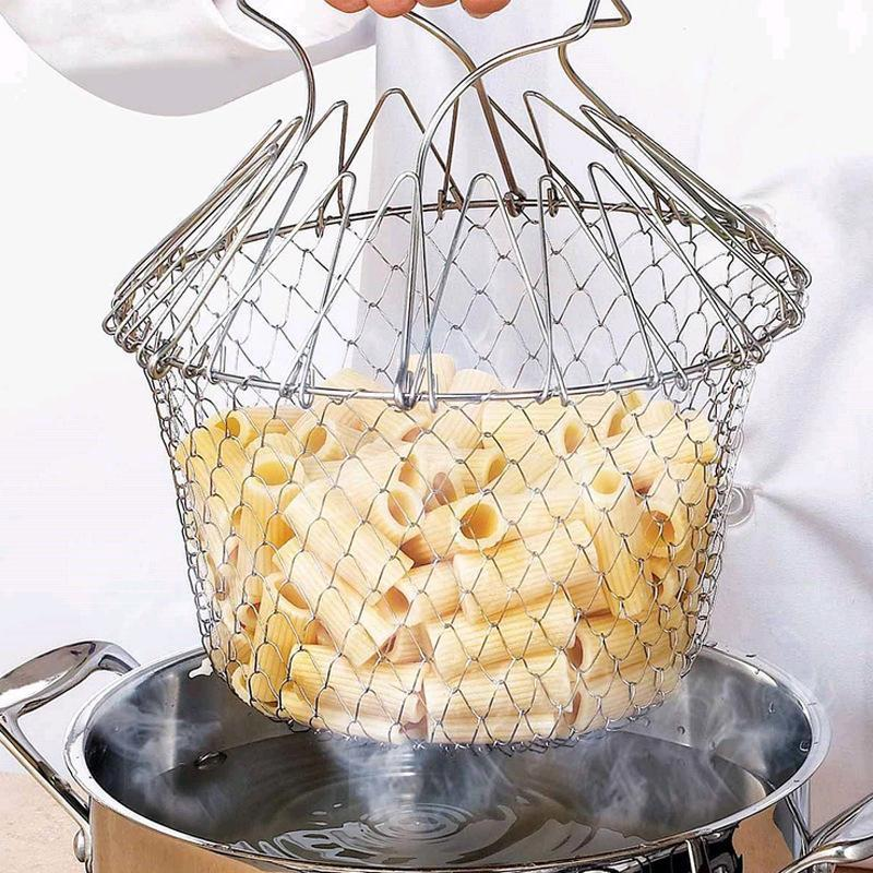 Foldable Steam Rinse&Stainless Steel Folding Basket