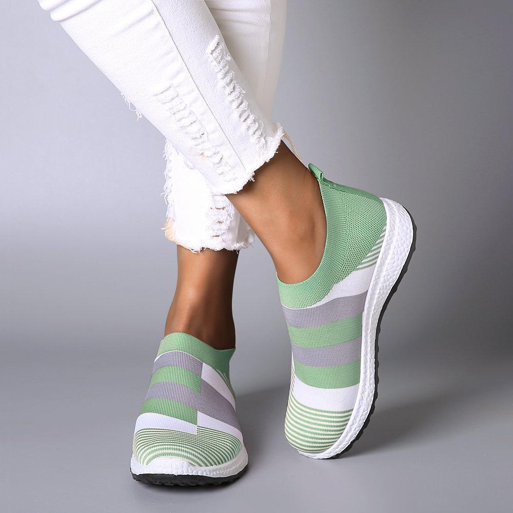 [New Colors] Women Comfortable Color Block Sneakers Slip-on Running Shoes