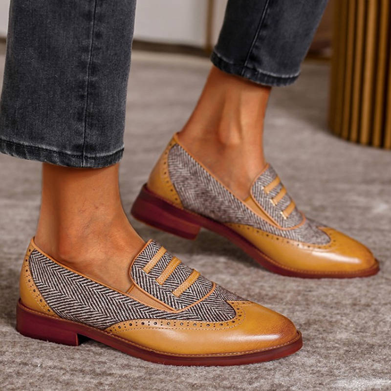 Women Casual Mixed Colors Pointed Toe Slip On Chunky Heel Loafers