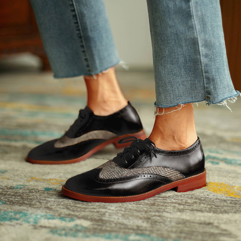 Women Casual Hit Colors Pointed Toe Lace Up Chunky Heel Loafers