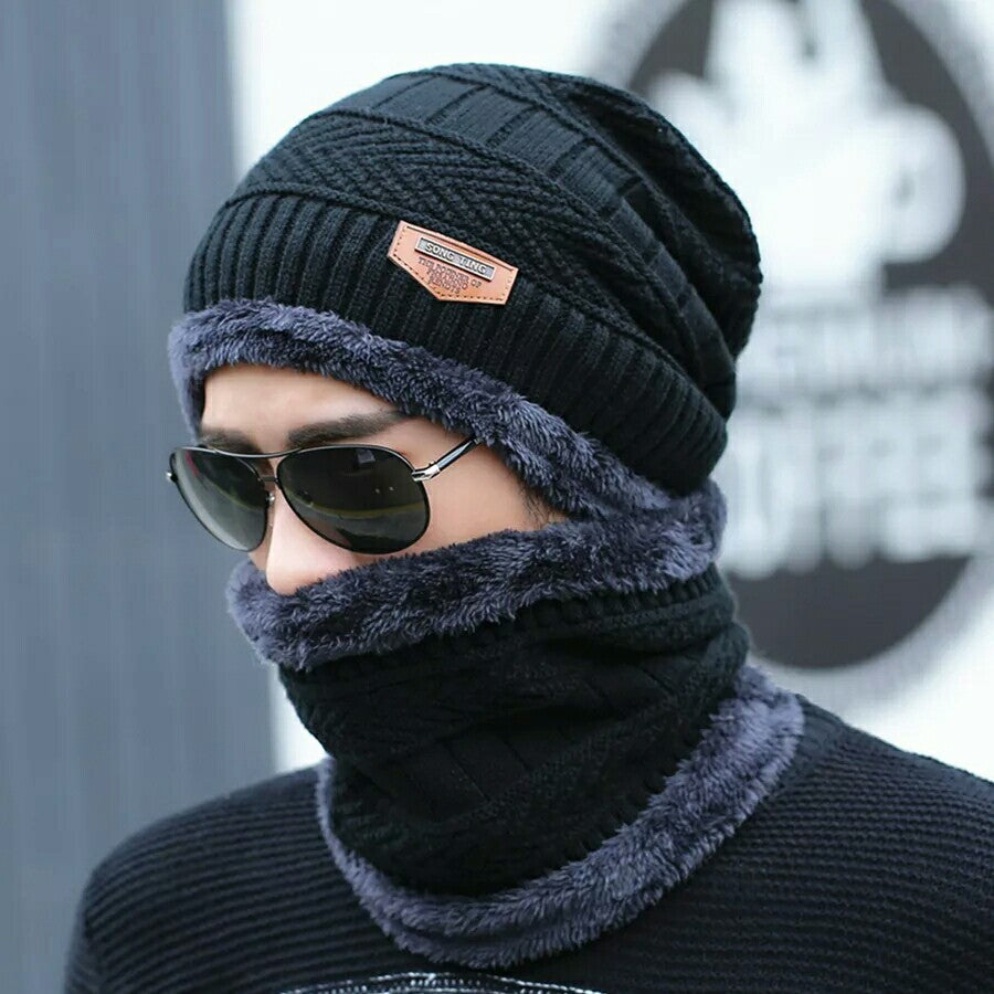 2pcs Cap and Leather Scarf Warm Cold Winter Hat