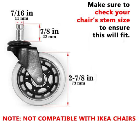 Caster Office Chair Wheels (Set of 5)