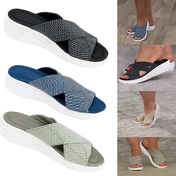 Women Casual Comfortable Net Cloth Cross-strap Flat Slippers